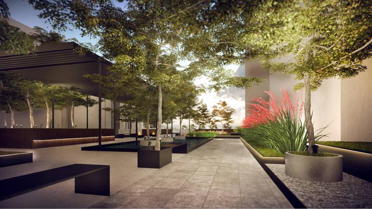 Segundo puesto concurso privado | Inmobiliaria Edifica : Paisajismo de interiores de estilo  por Gracia Nano Studio