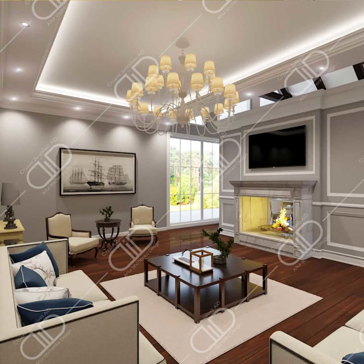 Traditional interior:  Media room by Design Studio AiD