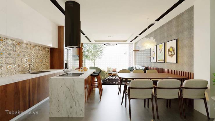 Linh House - Linh Đàm:  Phòng ăn by Công ty cổ phần kiến trúc và nội thất Tobehouse Việt Nam