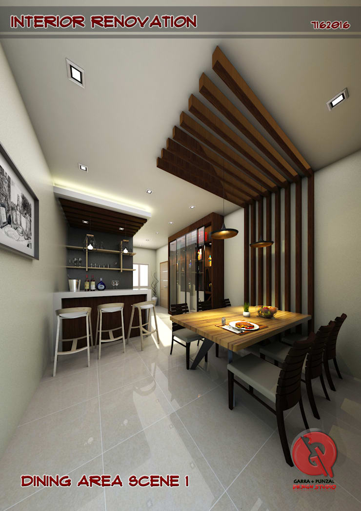 1-Bedroom Interior Design:  Dining room by Garra + Punzal Architects