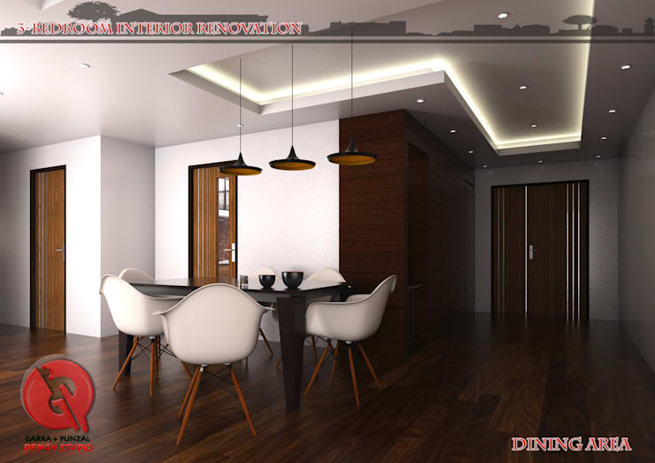 3-Bedroom Interior Design: modern Dining room by Garra + Punzal Architects