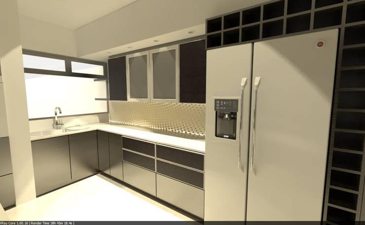 Living  Integrado a Cocina: Cocinas de estilo  por Aida Tropeano & Asoc.,Minimalista Compuestos de madera y plástico
