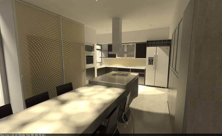 Living  Integrado a Cocina: Muebles de cocinas de estilo  por Aida Tropeano & Asoc.,Minimalista Derivados de madera Transparente