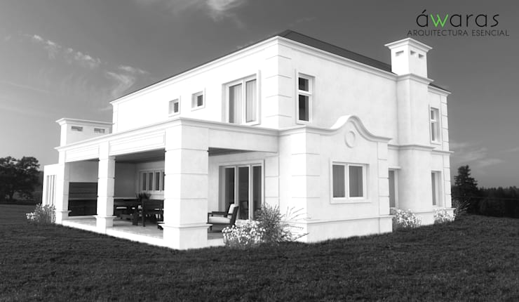 CASA PM | FRENTE OESTE: Casas de estilo  por áwaras arquitectos,