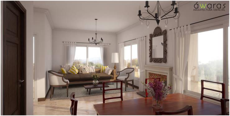CASA PM | ESTAR COMEDOR: Livings de estilo  por áwaras arquitectos,
