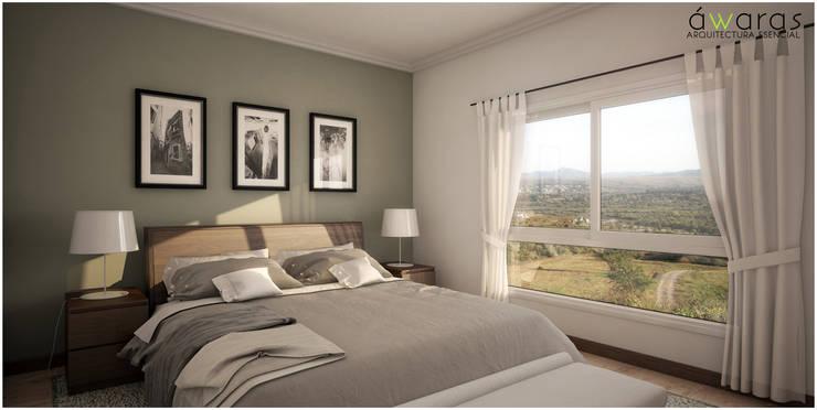 CASA PM | DORMITORIO PRINCIPAL : Dormitorios de estilo  por áwaras arquitectos,