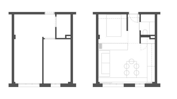 Reforma de piso de 30m2: Salones de estilo  de Okoli