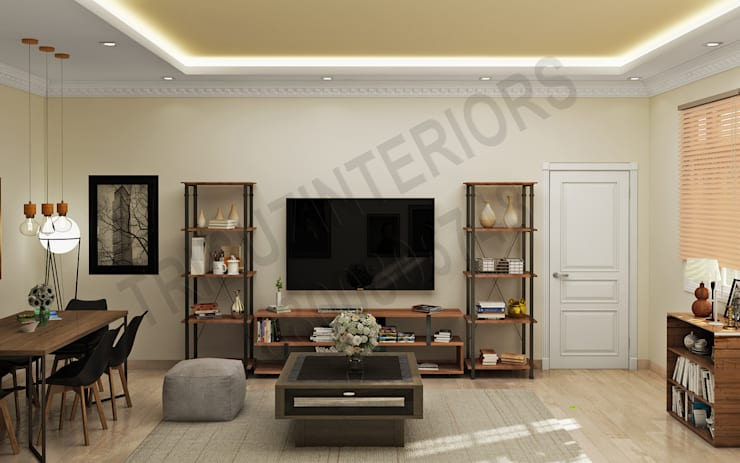 DLF: modern Living room by Tribuz Interiors Pvt. Ltd.