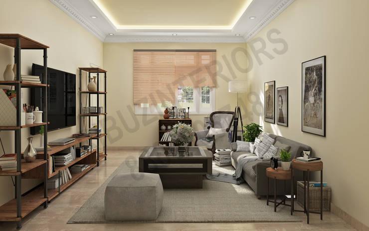 DLF:  Living room by Tribuz Interiors Pvt. Ltd.