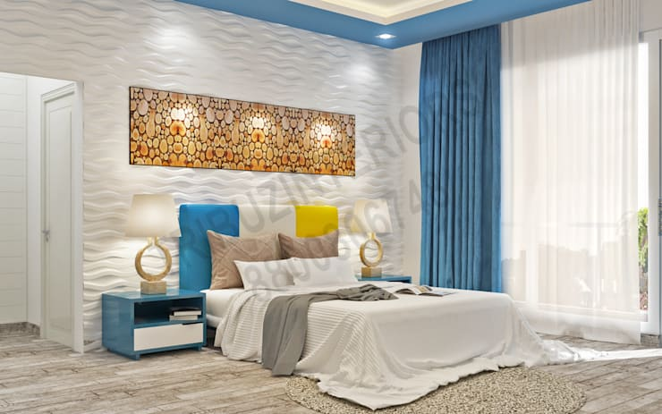 Saket: modern Bedroom by Tribuz Interiors Pvt. Ltd.
