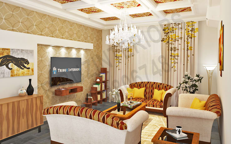 Saket: modern Living room by Tribuz Interiors Pvt. Ltd.