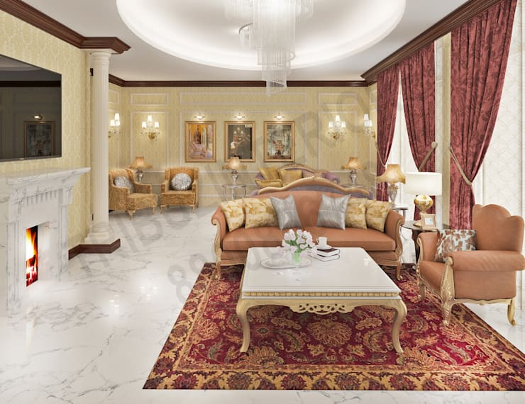 Central Park 2: classic Living room by Tribuz Interiors Pvt. Ltd.