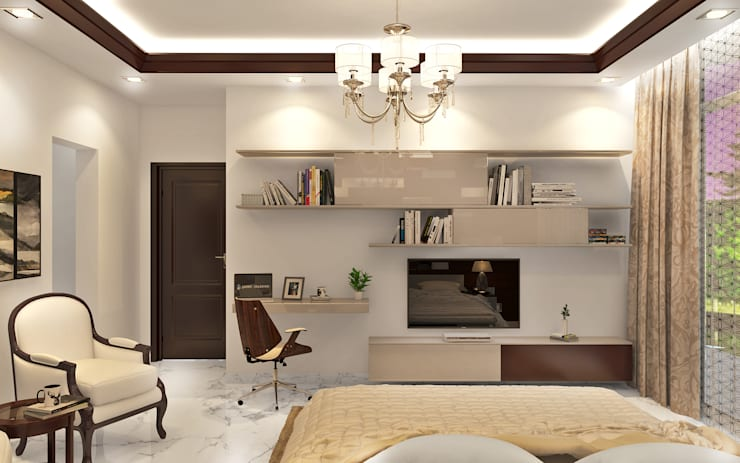 Essel Tower:  Living room by Tribuz Interiors Pvt. Ltd.
