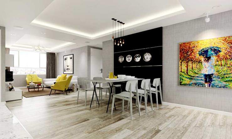 nội thất căn hộ hiện đại:  Phòng ăn by thiết kế kiến trúc CEEB