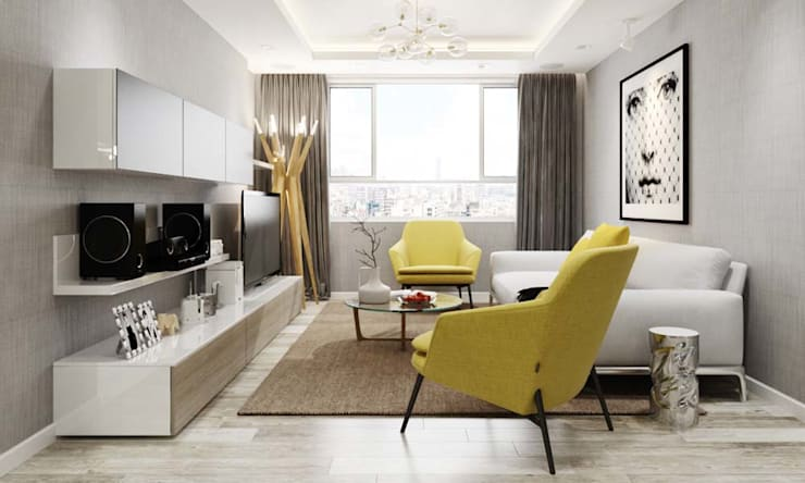 nội thất căn hộ hiện đại:  Phòng khách by thiết kế kiến trúc CEEB