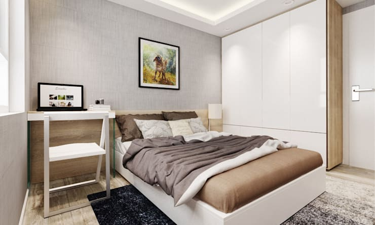 nội thất phòng ngủ căn hộ hiện đại:  Phòng ngủ by thiết kế kiến trúc CEEB