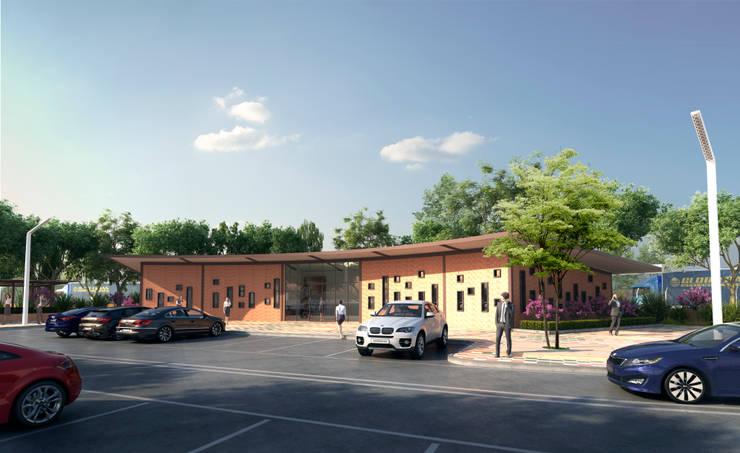 FACHADA PRINCIPAL: Casas de estilo industrial por Arquitectura Positiva