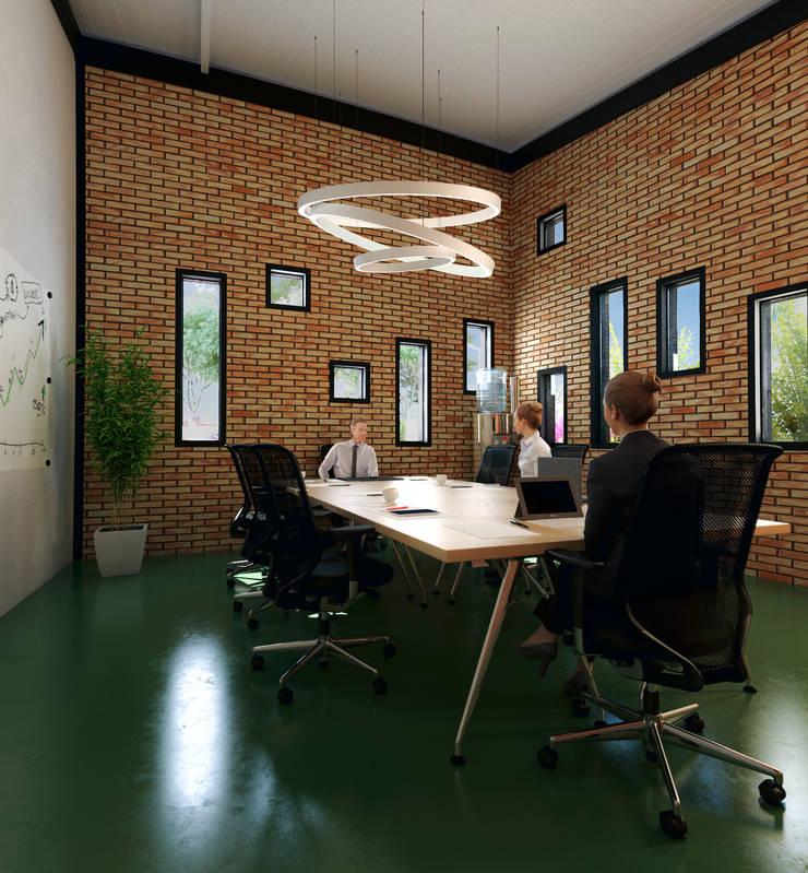 SALA DE JUNTAS: Estudios y despachos de estilo industrial por Arquitectura Positiva