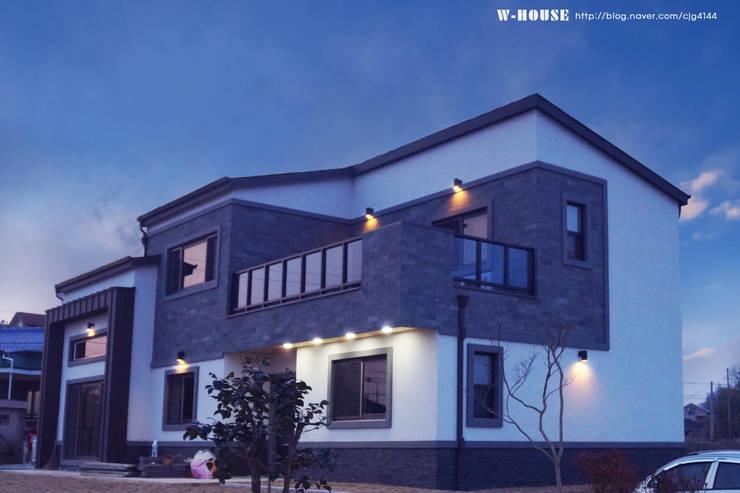 익산 임상리 50평형 ALC주택: W-HOUSE의  전원 주택,모던 콘크리트