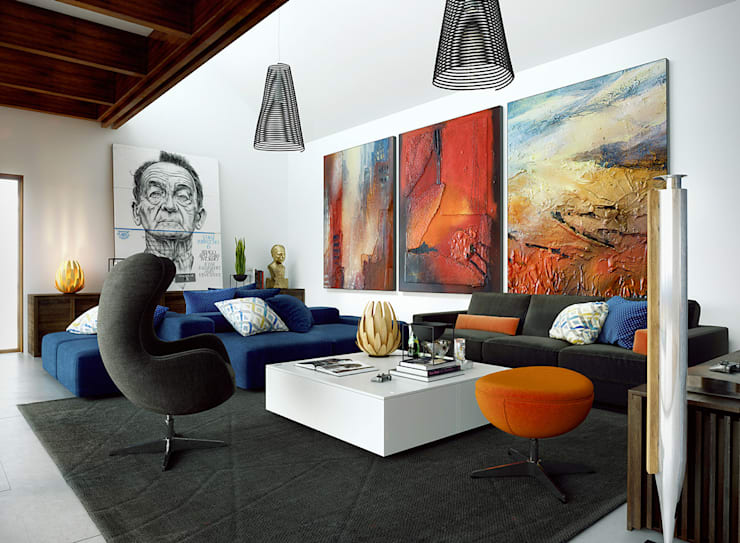 Interior Design Eclectic: Salas de estar  por No Place Like Home ®