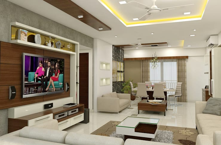 3 BHK flat @ Lodha Meridian: modern Living room by shree lalitha consultants