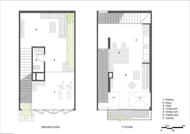 Ground & Mezzanine Floor Plan:   by Studio8 Architecture & Urban Design