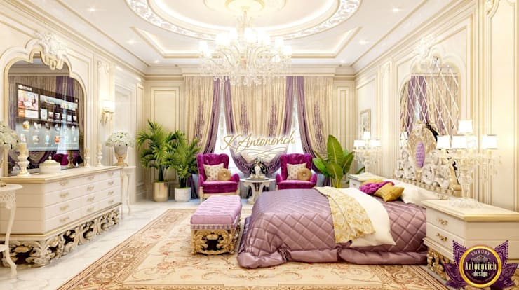 ​Beautiful house designs by Katrina Antonovich:  Bedroom by Luxury Antonovich Design