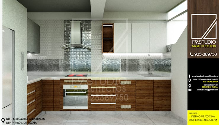 Vista frontal de Cocina: Muebles de cocinas de estilo  por F9.studio Arquitectos,