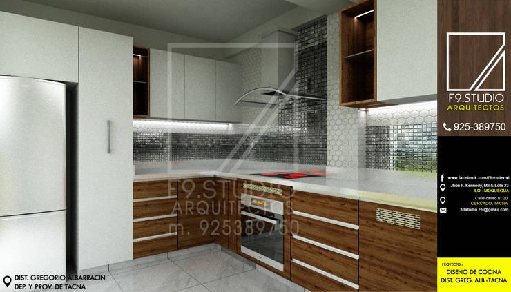 Vista lateral de cocina: Cocinas de estilo  por F9.studio Arquitectos,