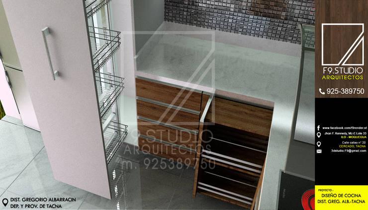 Vista de Despensa y encimera: Muebles de cocinas de estilo  por F9.studio Arquitectos,