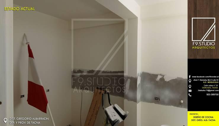 Vista lateral del Area existente: Muebles de cocinas de estilo  por F9.studio Arquitectos