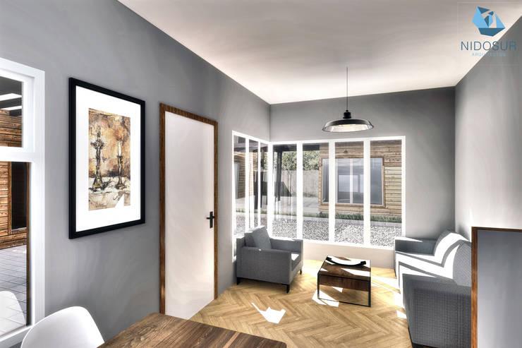 Interior - Estar/Comedor: Pasillos y hall de entrada de estilo  por NidoSur Arquitectos