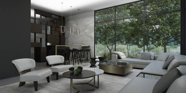 Casa AA: Salas de estilo  por VOA Arquitectos