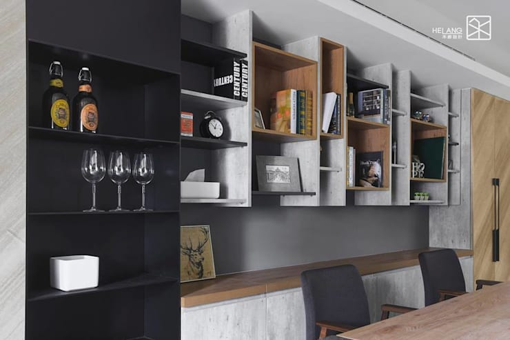 系統與木作:  客廳 by 禾廊室內設計