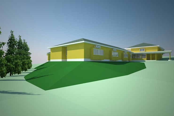 Modelo 3D vista exterior:  de estilo  por Plan V Arquitectos Ltda