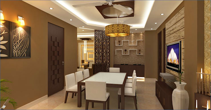 Angular view of the Dining Area: modern Dining room by Mi-Decor
