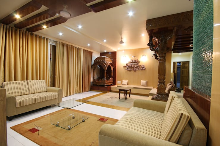 Residence - Shriniwas J. M.  Pune.: modern Living room by Spaceefixs