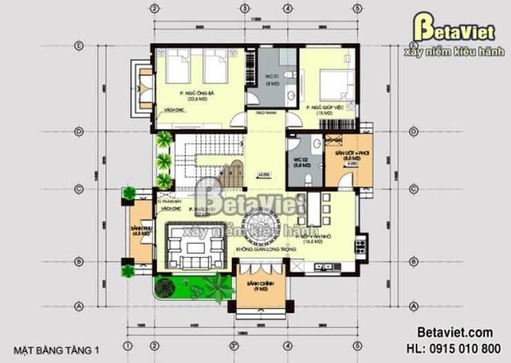 III. Chi tiết mặt bằng các tầng trong mẫu biệt thự vườn BT15046.:   by Công Ty CP Kiến Trúc và Xây Dựng Betaviet