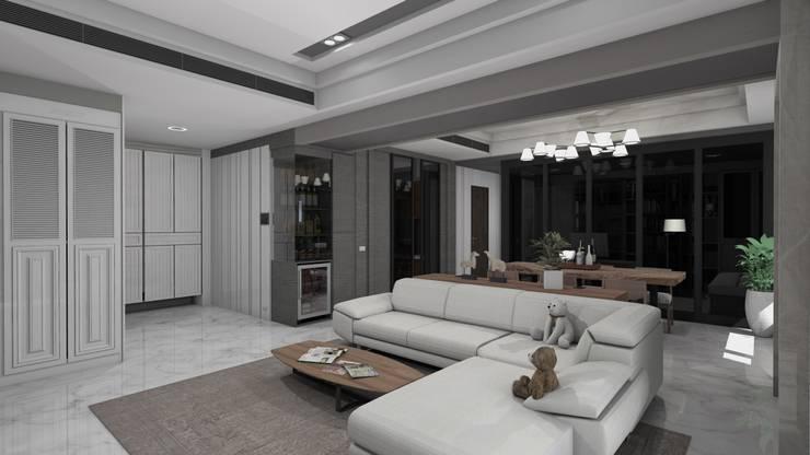 玄關鞋櫃、隱藏式儲藏室、酒櫃及客廳空間示意圖:   by Gavin室內裝修設計