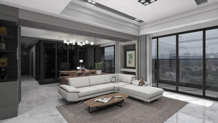 壁面裝飾櫃、客廳沙發、書房空間示意圖:   by Gavin室內裝修設計
