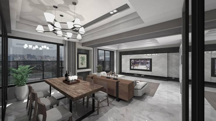 開放式餐廳及電視牆:   by Gavin室內裝修設計