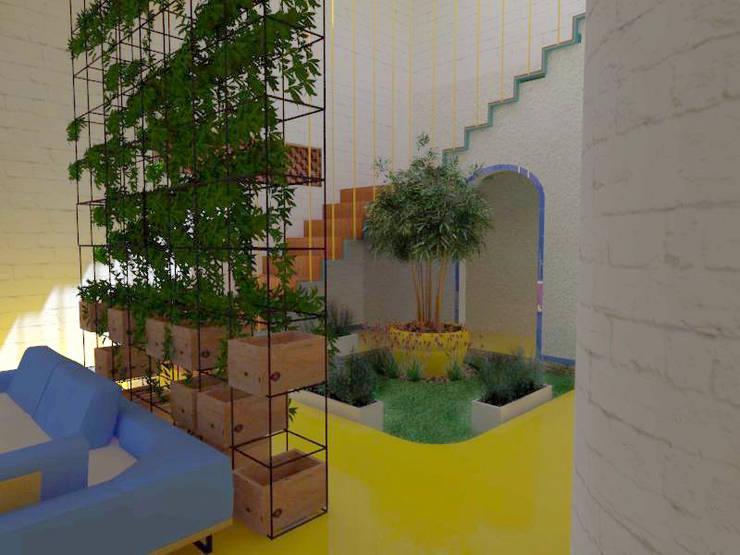 private light court:  Corridor & hallway by Habitat Design Collective (HDeCo)