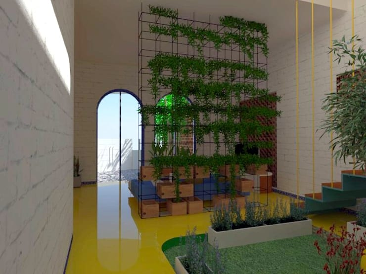 from private light court:  Corridor & hallway by Habitat Design Collective (HDeCo)