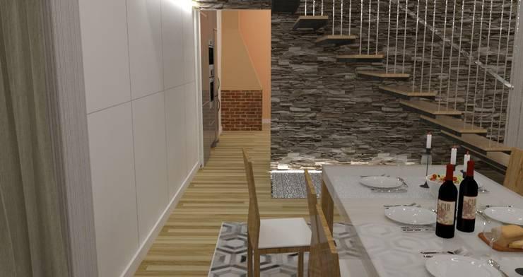 Diseño y reforma de vivienda unifamiliar en A Coruña: Salones de estilo  de A-kotar,