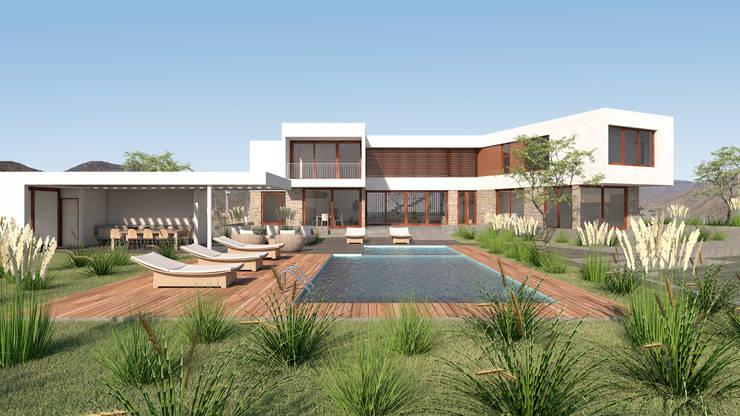 Vivienda La Chimba: Piscinas de jardín de estilo  por Uno Arquitectura