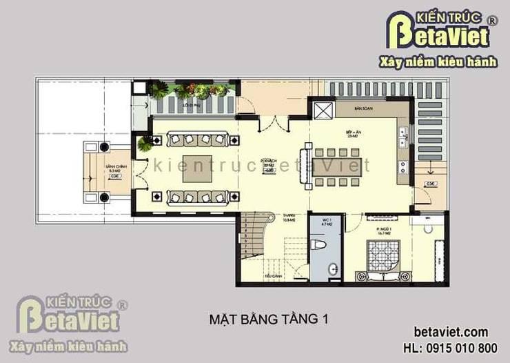 Mặt bằng tầng 1 biệt thự đẹp 3 tầng Tân Cổ điển BT14434:   by Công Ty CP Kiến Trúc và Xây Dựng Betaviet