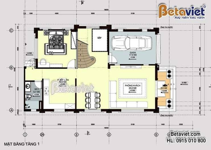 Mặt bằng tầng 1 mẫu biệt thự đẹp 3 tầng Tân cổ điển  BT16011:   by Công Ty CP Kiến Trúc và Xây Dựng Betaviet