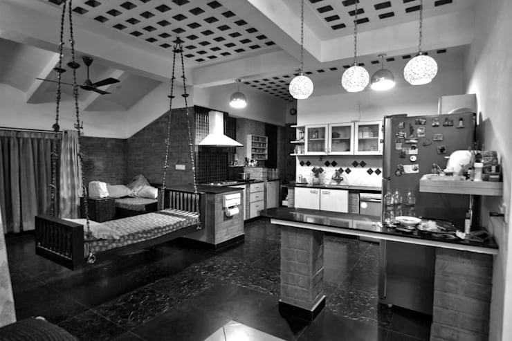 Kitchen cum family:  Kitchen by Myriadhues,Modern