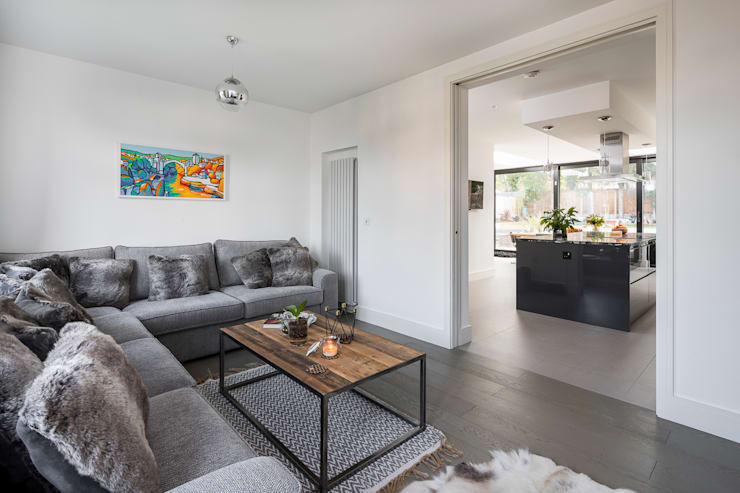 Large Rear Extension, Semi-detached House, Woodford Green, North-East London: modern Living room by Model Projects Ltd