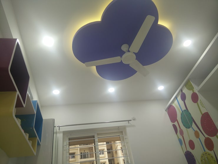 3BHK Aparna Cyberzone E Block 1440sqft Turn Key project:  Flat roof by Enrich Interiors & Decors